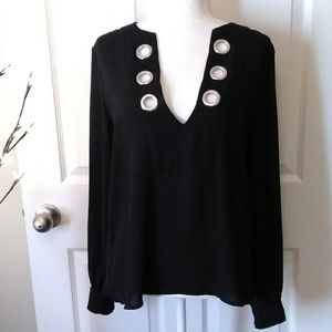 NASTY GAL semi-sheer v-neck tunic. Size Medium
